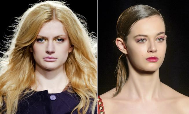 Collage di modella con capelli sciolti e raccolti