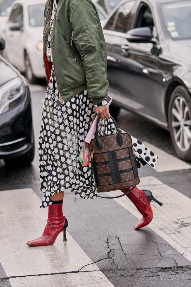 Stivali rossi Streetstyle 2019 Parigi