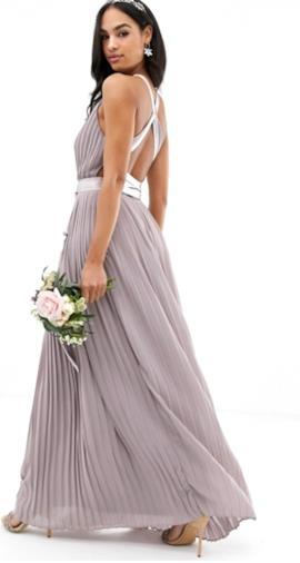 Vestito da damigella a pieghe lungo con incrocio sul retro e fiocco grigio