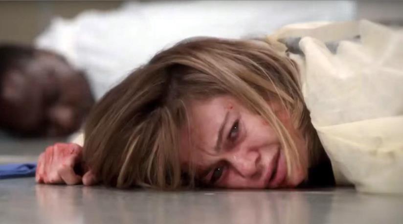 Meredith Grey a terra ferita in una scena del prossimo episodio di Grey's Anatomy 12
