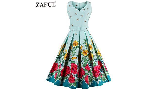 Abito anni'50 Zaful, con fantasia floreale