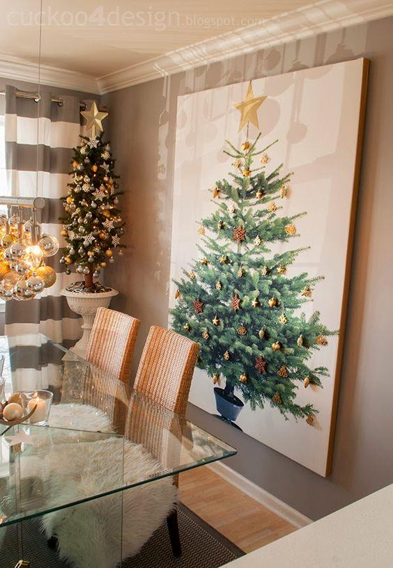 Albero di Natale dipinto da parete