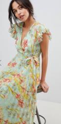 Vestito vintage lungo a pieghe con motivo a fiori e maniche a volant