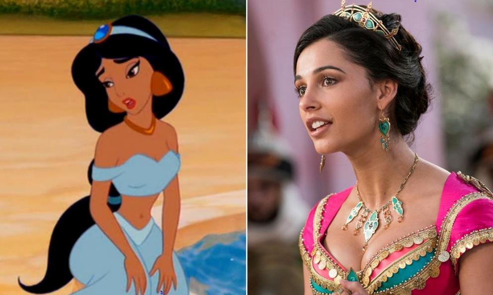 Collage tra Jasmine d'animazione e Jasmine del film del 2019