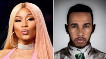 Nicki Minaj e Lewis Hamilton in un collage