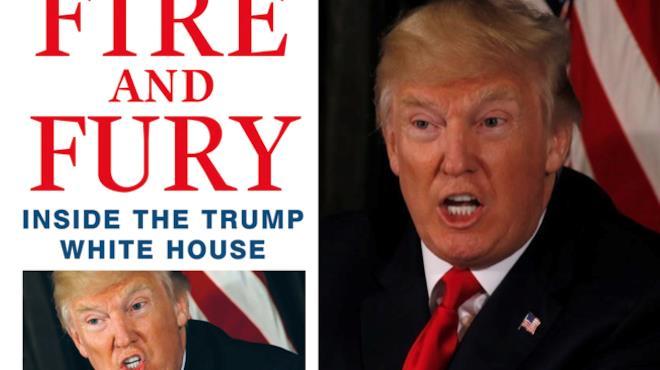 La copertina di Fight and Fury e accanto un'immagine del Presidente Trump