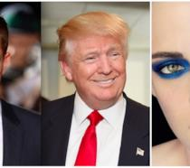 Un collage tra Robert Pattinson, Kristen Stewart e Donald Trump