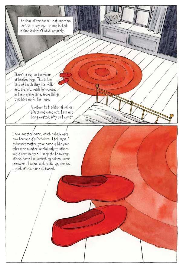 Disegni e didascalie di pagina 9 del graphic nove The Handmaid's Tale
