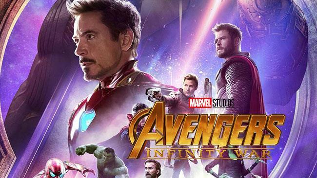 Gli eroi Marvel in un particolare di un poster di Avengers: Infinity War