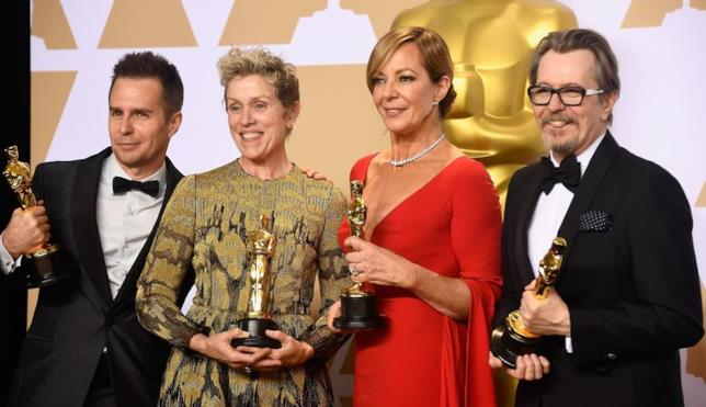 Un'immagine dei vincitori dell'ultima edizione degli Academy Awards