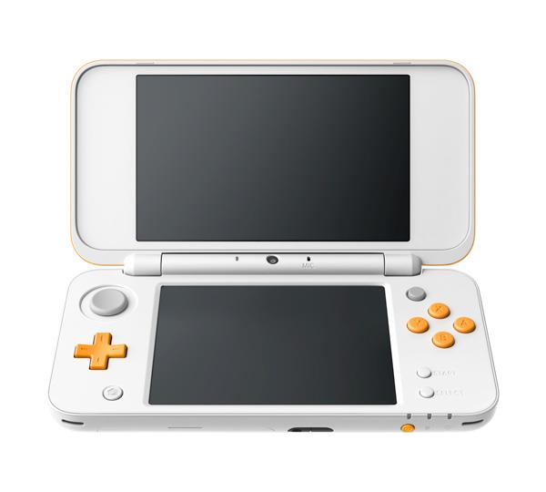 Foto frontale di Nintendo 2DS XL in bianco/arancio