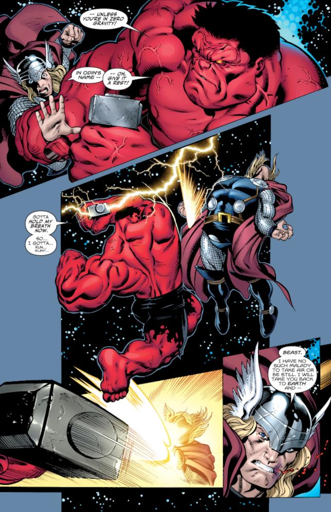 Hulk Rosso usa il martello di Thor contro di lui