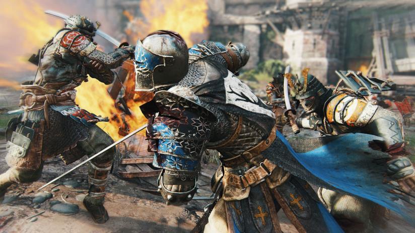 Uno dei cavalieri di For Honor nel mezzo della battaglia