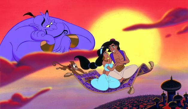 Aladdin e Jasmine sul tappeto sorvegliati dal genio e abu