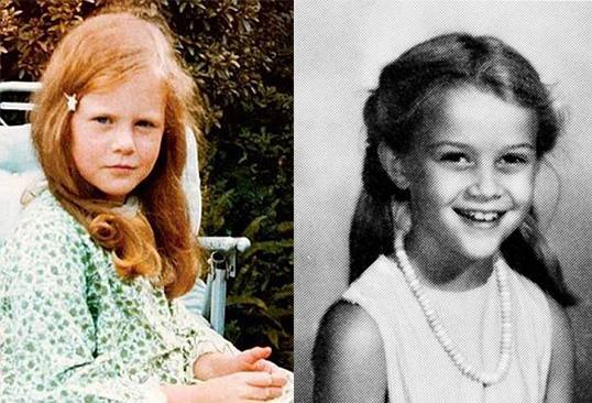 A sinistra Nicole Kidman e a destra Reese Witherspoon, entrambe bambine