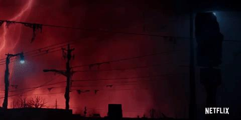 Il cielo rosso che si squarcia in Stranger Things