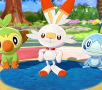 I tre starter di Pokémon Spada e Scudo