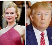 Primo piano di Nicole Kidman e Donald Trump