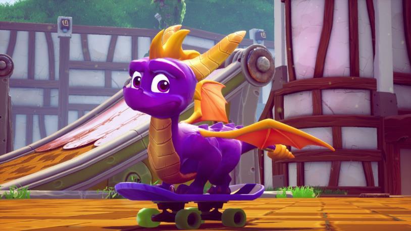 Spyro sullo skateboard nel remake di Spyro: Year of the Dragon