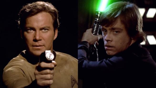 I due personaggi di Star Trek e Star Wars, James T.Kirk e Luke Skywalker