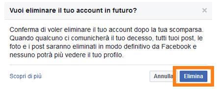 Terzo passaggio per eliminare il proprio account Facebook