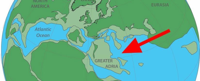 Un'illustrazione che mostra la posizione della Grande Adria