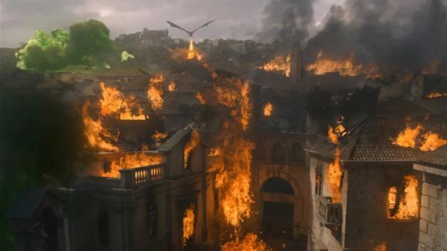 Drogon e l'Altofuoco distruggono Approdo del Re