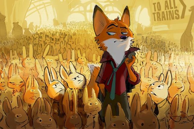 La volpe Nick Wilde in una delle prime concept art di Zootropolis