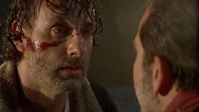 Rick e il sangue sul viso