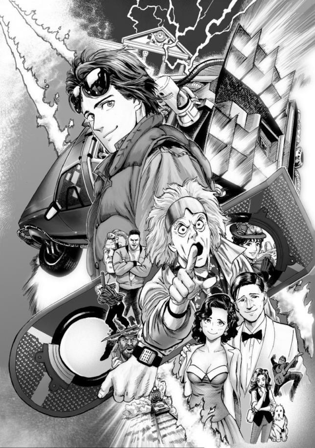 La tavola in bianco e nero realizzata da Murata con i protagonisti principali di BTTF