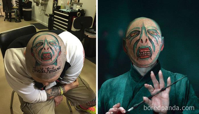 Tatuaggi brutti con lo face-swap: il volto di  Lord Voldemort