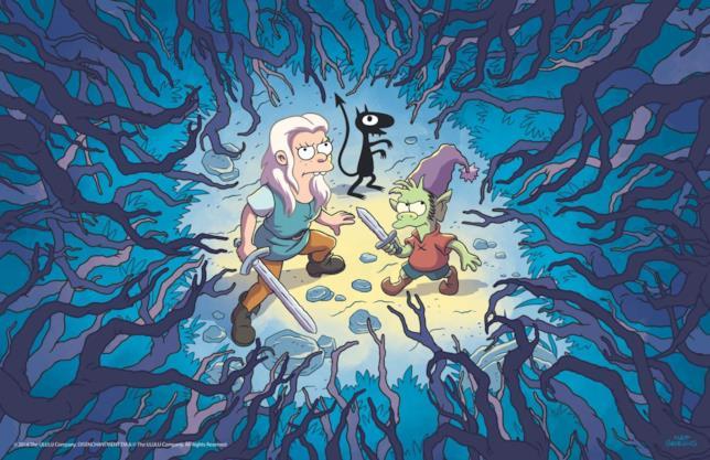 Bean insieme a Elfo e Luci nella foresta