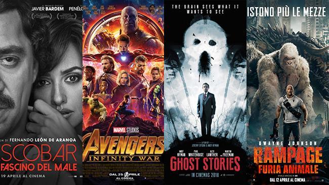 I poster dei film Escobar - Il fascino del male, Avengers: Infinity War, Ghost Stories, Rampage