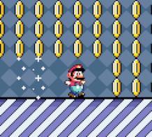 Mario raccoglie tante monete dorate nel videogioco