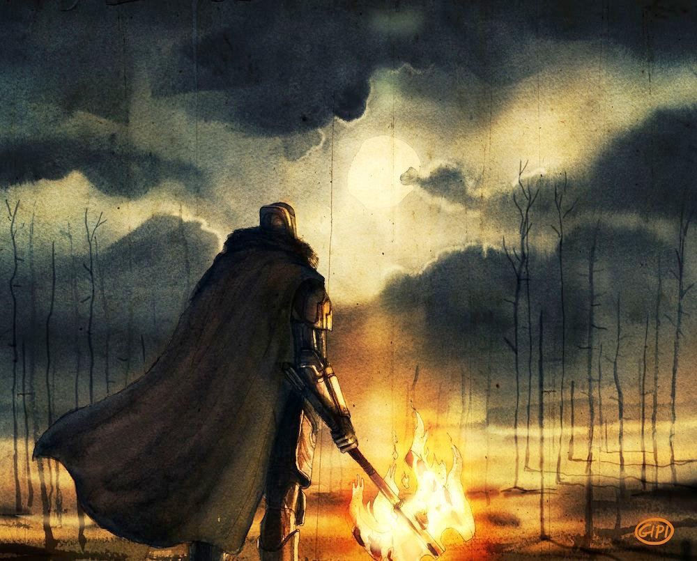 Un Guardiano guarda l'orizzonte notturno con una fiaccola