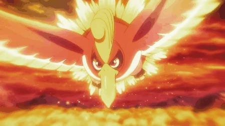 Ho-Oh vola davanti ad Ash e Pikachu in GIF