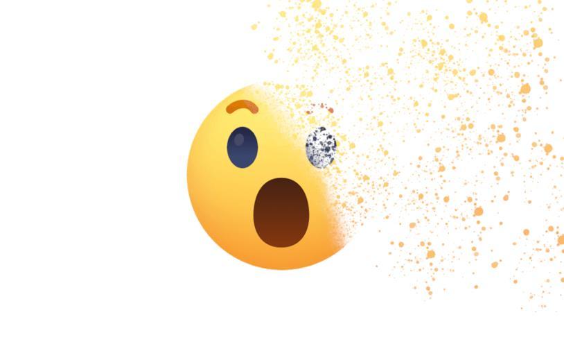 L'emoji Wow di Facebook mentre sparisce