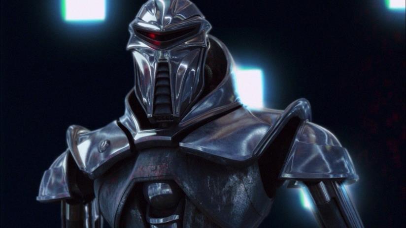 Il primo piano di un cylone della serie TV Battlestar Galactica