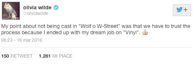 Tweet di Olivia Wilde su Vinyl
