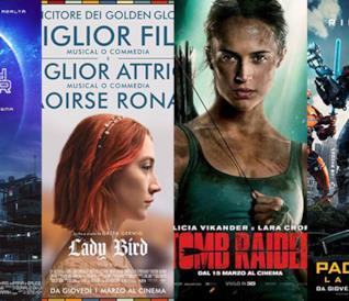 I poster dei film Ready Player One, Lady Bird, Tomb Raider e Pacific Rim: La rivolta