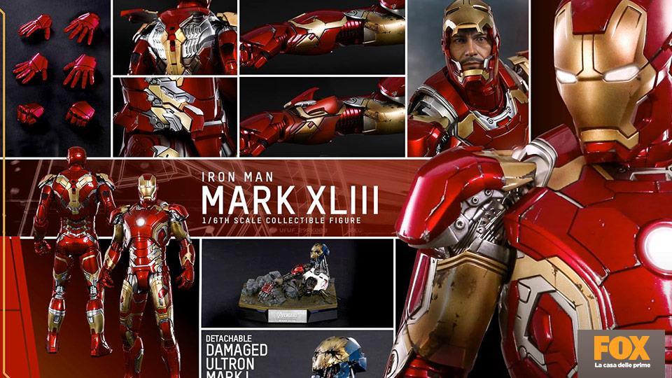 Nuovo film, nuova armatura di Iron Man: questa voltà Tony Stark sfoggerà una corazzatissima Mark XLIII.