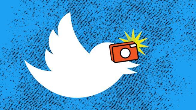 Il logo di Twitter modificato per il lancio della fotocamera in-app