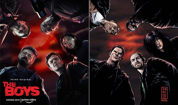 I protagonisti della serie TV The Boys a confronto con i personaggi del fumetto, nella stessa posizione
