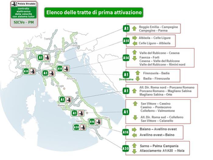 Una cartina dell'Italia che mostra dove sono posizionati i nuovi tutor