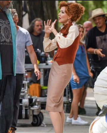 Maggie Gyllenhall sul set di The Deuce