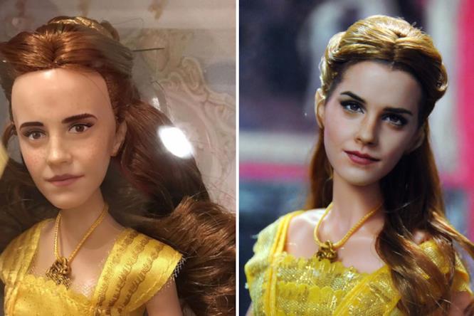 Primo piano della bambola di Belle prima e dopo il makeover