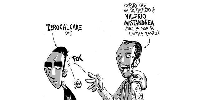 Una vignetta a caricatura di Zerocalcare e Mastandrea