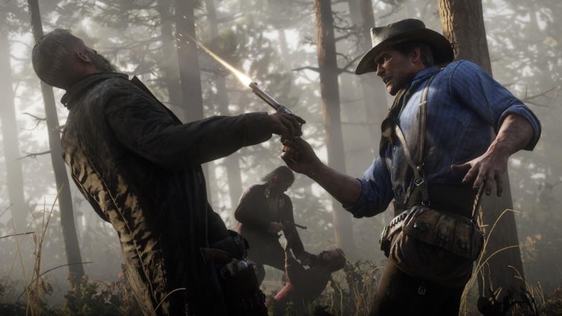 Arthur intimidisce un NPC in Red Dead Redemption 2