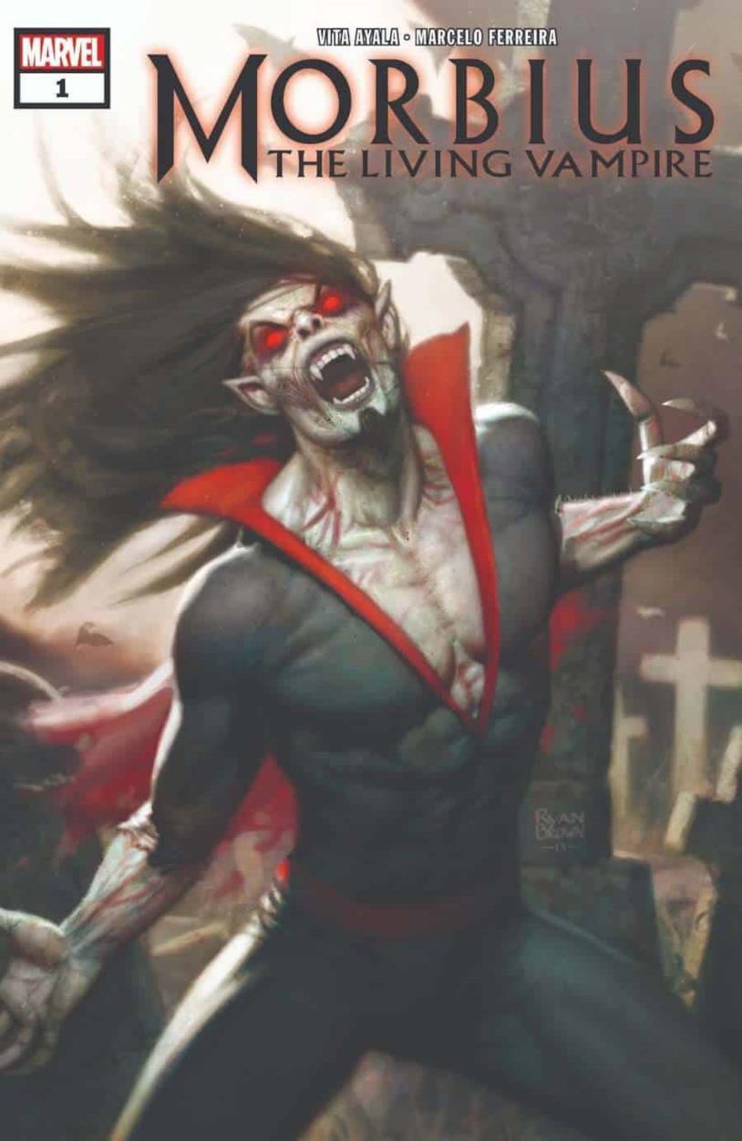 La cover del primo numero di Morbius mostra il Vampiro Vivente con gli occhi rossi e un'espressione di rabbia mista a sofferenza