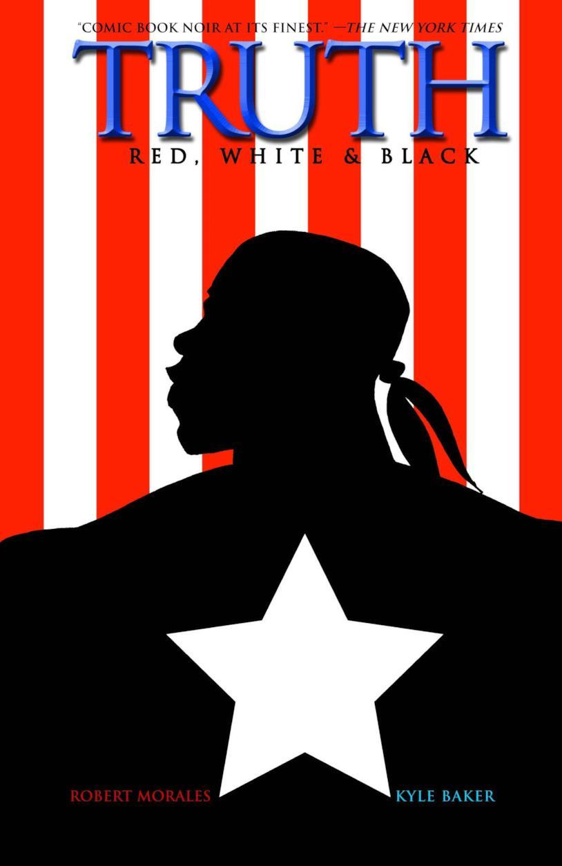 L'ombra del volto di Bradley sulla bandiera americana con una grande stella bianca al centro